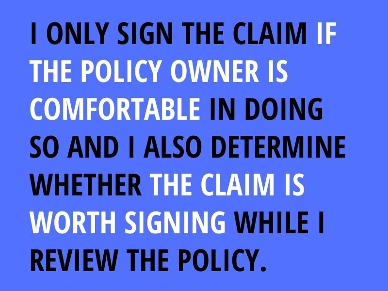 sign the claim
